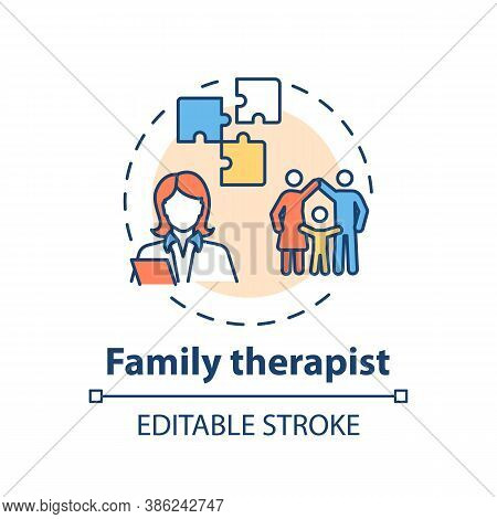 Family Therapist Concept Icon. Medical Speciality Idea Thin Line Illustration. Professional Counseli