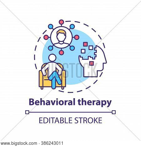 Behavioral Therapy Concept Icon. Mental Health Disorders Treatment Idea Thin Line Illustration. Self