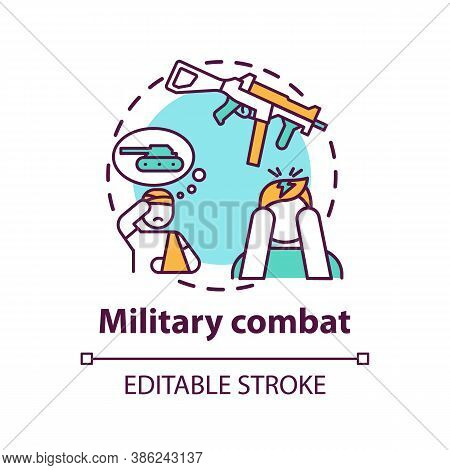 Military Combat Concept Icon. Posttraumatic Stress Disorder Idea Thin Line Illustration. Shell Shock
