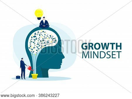 Businessman Holding Light Bulb For Put Think Growth Mindset Different Fixed Mindset Concept