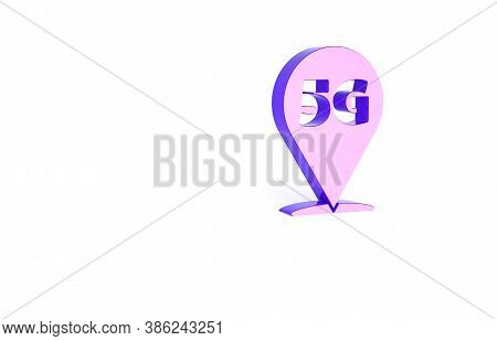 Purple Location 5g New Wireless Internet Wifi Connection Icon Isolated On White Background. Global N