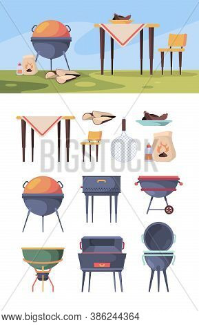 Bbq Stand. Picnic Grill Steak In Summer Outdoor Party Kitchen Items For Food Vector Bbq Yard. Barbec