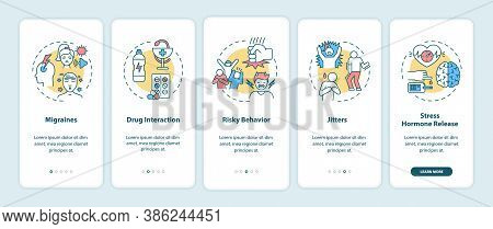Energy Drinks Dangers Onboarding Mobile App Page Screen With Concepts. Migraines, Risky Behavior Wal