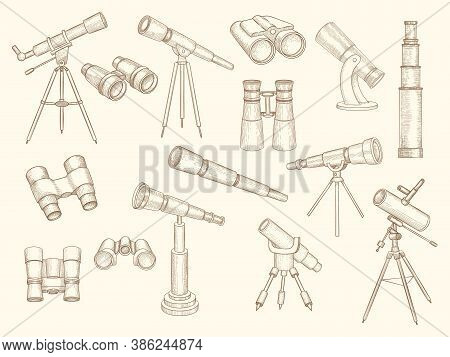 Telescope Hand Drawn. Retro Gadgets For Explorer People Military Optic Binoculars Vector Doodle Pict