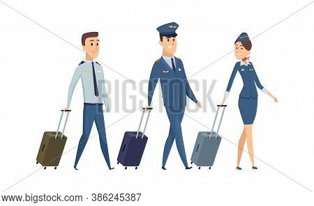 Plane Team. Isolated Pilot, Navigator And Stewardess With Suitcases. Happy Airplane Staff Going To B
