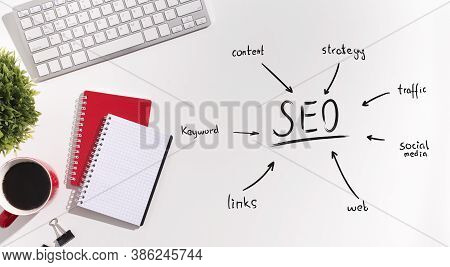 Seo-optimization Scheme For Internet Content And Websites Optimization Over White Office Table Backg