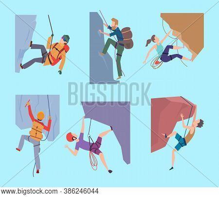 Climbing Characters. Sport Rocking People Walking In Mountain Extream Male And Female Climbers Hiker