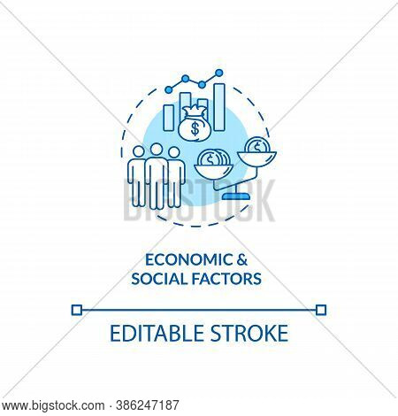 Economic And Social Factors Concept Icon. Pestel Analysis. Money Problems. Communication Strategy Id