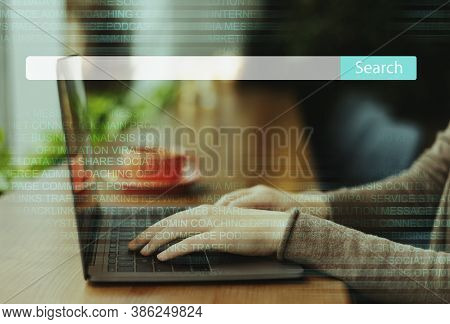 Unrecognizable Business Lady Browsing Internet Using Laptop Computer Working Online Sitting At Workp