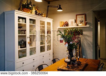 Kitchen. Christmas Decor Of A Country House In A Retro Style. Vintage In The Interior. Festive Mood