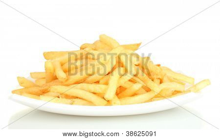 Potatoes fries in the plate isolated on white