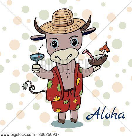 Dear Bull In A Shirt, Aloha Style. Vector Illustration For Children.