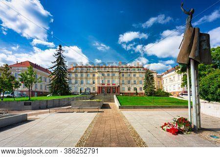 Pruszcz Gdanski, Poland - September 19, 2020: Scrupture at  the building of the starosty in Pruszcz Gdanski, Poland.