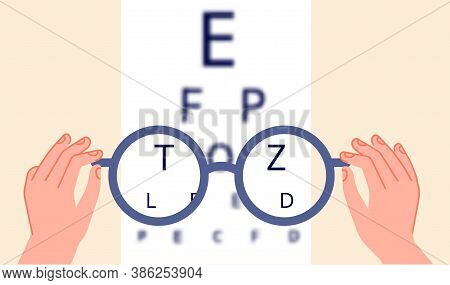 Vision Health. Eye Ophthalmologist Test, Glasses Check Up. Optometry Testing Board Or Blurred Eyesig