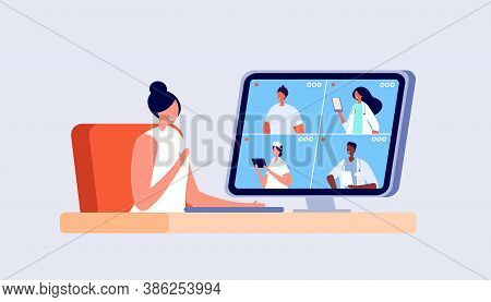 Medical Online Conference. Doctor Video Consult, Videocall Hospital Staff. Technology Healthcare Ser