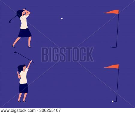 Business Goal. Woman Play In Golf, Successful Project Or Investments Metaphor. Manager Golf Club, Ba