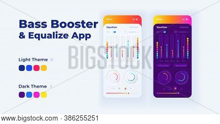 Bass Booster Smartphone Interface Vector Template Set. Mobile App Page Dark And Light Theme Design L