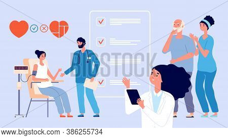 Senior Medical Check Up. Old Patients Healthcare, Elderly Effective Lifestyle. Doctors Nurse With Ad
