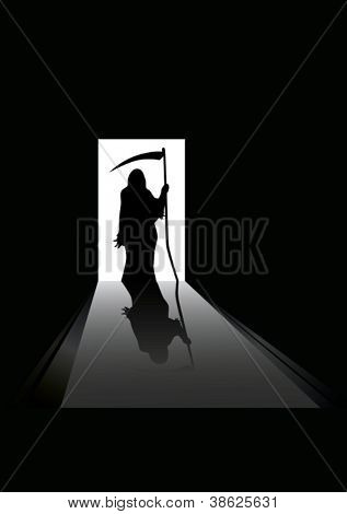 vector illustration of Grim reaper silhouette standing in a doorway