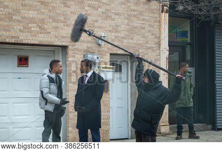 USA, New York 1.14.2015  filming for Power TV series season 2  actors cast, Omari Hardwick and Rotimi Olurotimi Akinosho