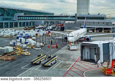 US, New York, 1.20.2015, the JFK airport runway in New York