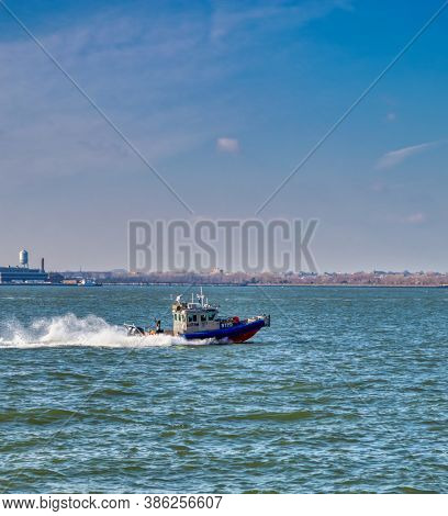 USA, New York 1.14.2015 ,  speed boat of us department of homeland security and Coast Guard ,NYPD