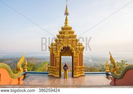 Tourist Woman Standing At The View Point Of Wat Phra That Doi Phra Chan One Of The Most Beautiful Bu