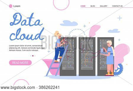 Website Page Or Landing Page Template For Cloud Data Storage Server Flat Cartoon Vector Illustration
