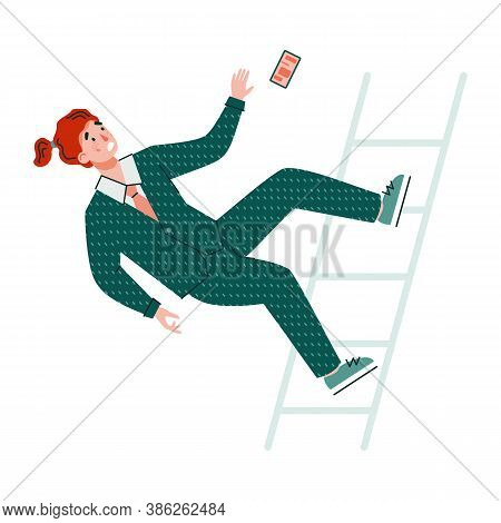 Businessman Cartoon Character Falls From Stairs, Flat Vector Illustration On White Background. Man I