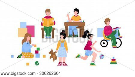 Kindergarten Children Playing And Busy With Various Game Activity, Flat Cartoon Vector Illustration