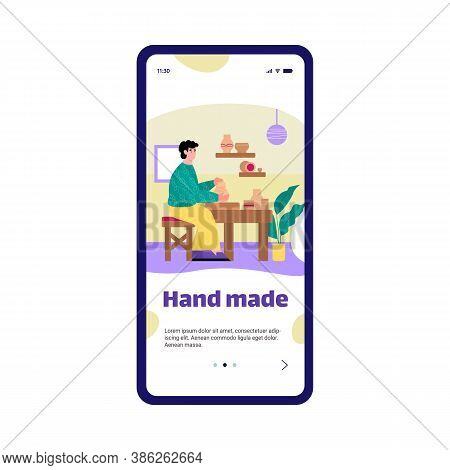 Mobile App On Phone Screen With Potter Making Ceramics Pots And Vases Out Of Clay In Workshop. Hobby