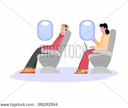 People Are Sitting In Passenger Seats Inside The Plane. A Journey Or Travel By Aircraft. Airline Pla