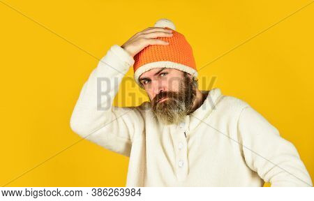 Ready For Holiday. Handsome Male Model Wearing Warm Hat. Casual Man In Winter Hat And Warm Clothes.