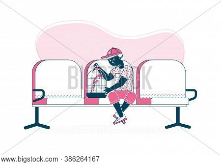 Boy With Pet Waiting For Consultation Of Veterinary, Flat Cartoon Vector Illustration Isolated On Wh