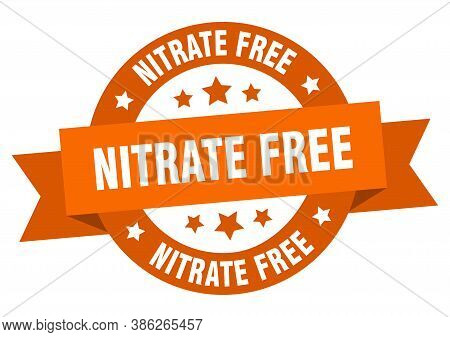 Nitrate Free Round Ribbon Isolated Label. Nitrate Free Sign