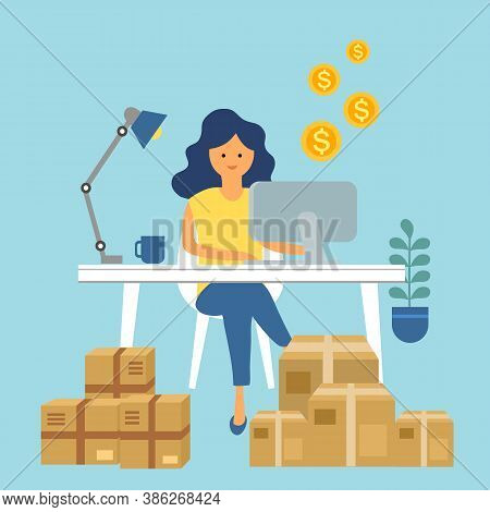 A Woman Packing Order For Shipping To Customer. She Earn Money From Selling Products Via Online Stor