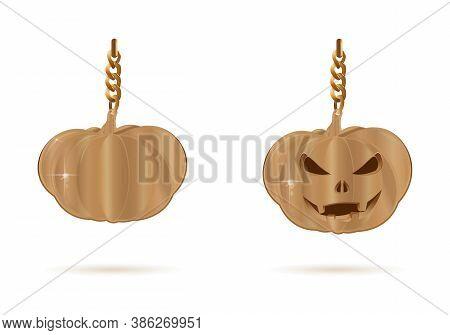 Halloween Design Set. Golden Decoration In The Form Of Jacks Lamp. Golden Pumpkin And Jack-o-lantern