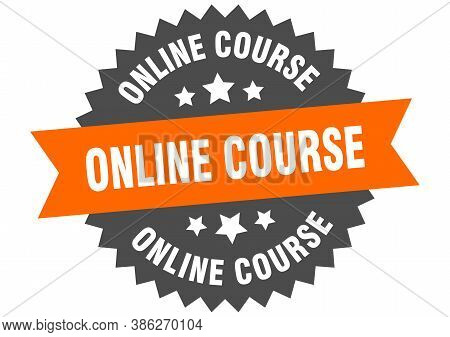 Online Course Round Isolated Ribbon Label. Online Course Sign