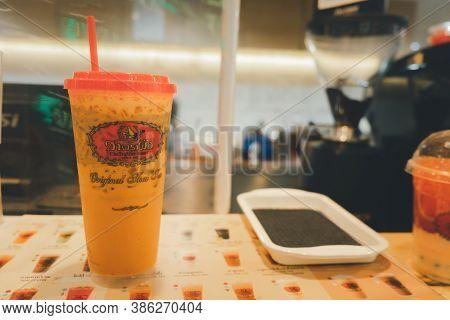 Bangkok, Thailand - September 22, 2020 : Iced Thai Milk Tea From The Famous Of Thai Tea Branding Cha