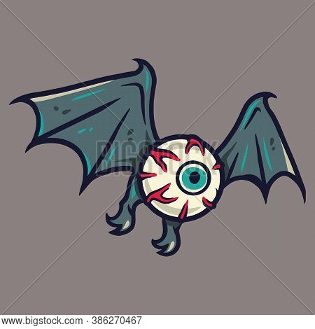 Horrible Eyeball With Wings For Halloween Holiday