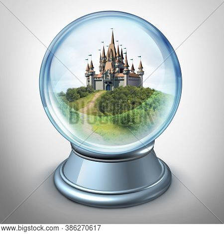 Dream Home As A Real Estate Hope Concept As A Mansion Castle On A Hill As A Home Owning Dream Or Suc
