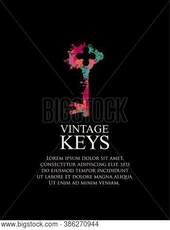 Banner With A Vintage Key And Space For Text. Vector Illustration In Retro Style With An Old Key In