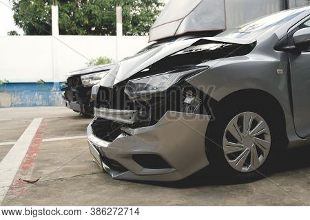 Front Of Car Get Damaged By Accident And Waiting For Repair