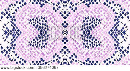 Seamless Predator Pattern. Alligator Leather Animal Print. Purple, Blue And Pink Colors. Aquarelle P