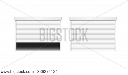 Realistic Detailed 3d Metal White Shutter Door Or Rolling Door Set For Store And House. Vector Illus