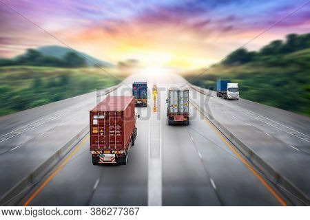 Truck Transport Container On Highway At Sunset, Motion Blur Effect, Logistics Import Export Backgrou
