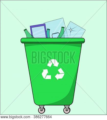 Trash Dumpster With Glass, For Recycling. Segregate Waste, Sorting Garbage, Waste Management. Illust