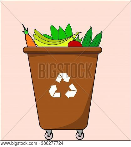 Trash Dumpster With Organic, For Recycling. Segregate Waste, Sorting Garbage, Waste Management. Illu