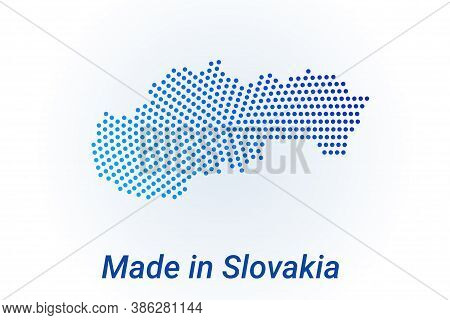 Map Icon Of Slovakia. Vector Logo Illustration With Text Made In Slovakia. Blue Halftone Dots Backgr