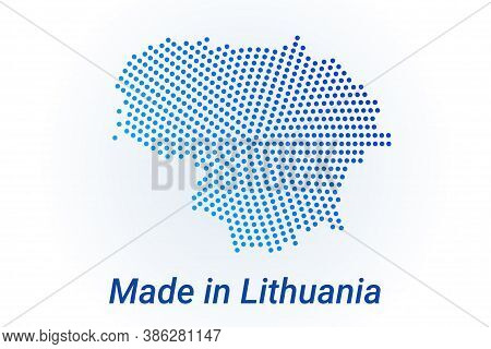 Map Icon Of Lithuania. Vector Logo Illustration With Text Made In Lithuania. Blue Halftone Dots Back